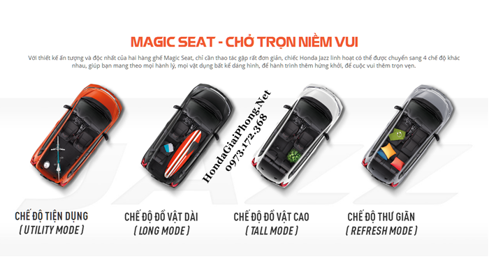 C06 noi that xe honda jazz 2018 magic seat bo ghe ma thuat